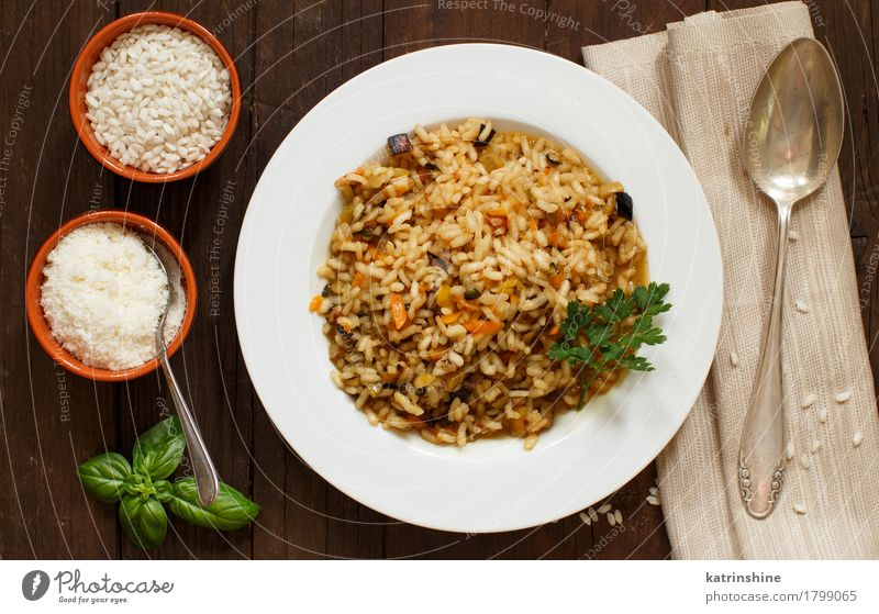 Risotto with vegetables and spices Vegetable Grain Herbs and spices Nutrition Lunch Dinner Vegetarian diet Diet Italian Food Plate Spoon Healthy Delicious cook
