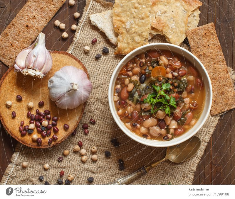Cooked legumes and vegetables in a bowl Green White Red Dish Natural Wood Brown Nutrition Herbs and spices Cooking Delicious Vegetable Bread Bowl Meal