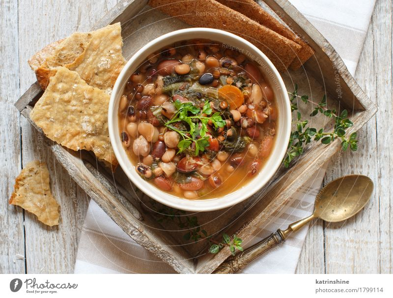 Cooked legumes and vegetables in a bowl Food Vegetable Bread Soup Stew Herbs and spices Nutrition Vegetarian diet Diet Bowl Spoon Healthy Delicious Brown Green