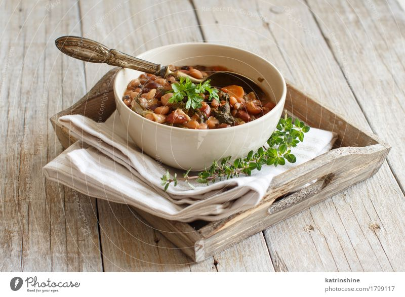 Cooked legumes and vegetables in a bowl Vegetable Soup Stew Herbs and spices Nutrition Vegetarian diet Diet Bowl Spoon Healthy Delicious Brown Green Red White