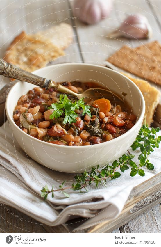 Cooked legumes and vegetables in a bowl Vegetable Bread Soup Stew Herbs and spices Nutrition Vegetarian diet Bowl Spoon Healthy Delicious Brown Green Red White