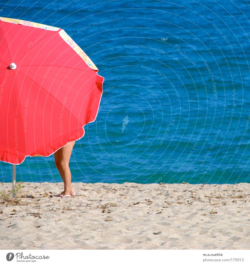 Human being Water Ocean Red Summer Beach Feminine Sand Air Legs Waves Island Sunshade Beautiful weather Mediterranean sea Sardinia