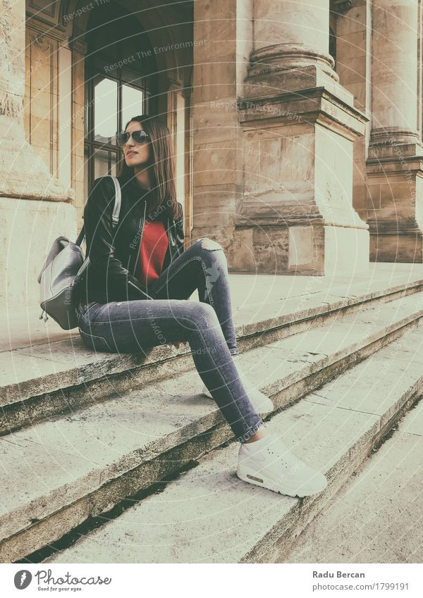 Young Beautiful Girl Posing In Autumn Outfit Human being Woman Youth (Young adults) City Blue Young woman White Red Joy 18 - 30 years Black Adults Natural