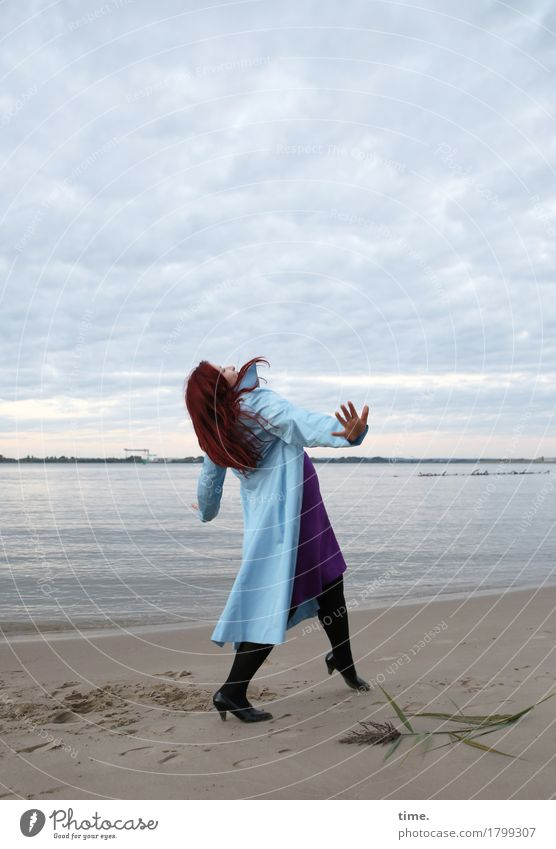 . Feminine 1 Human being Art Actor Dance Dancer Sky Coast Beach Dress Coat Red-haired Long-haired Movement Going Looking Hiking Funny Beautiful Self-confident