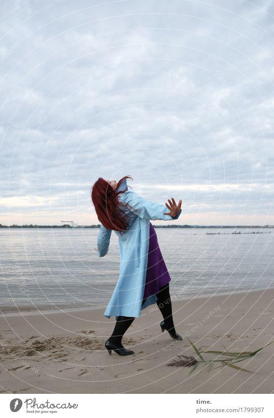 Human being Sky Beautiful Beach Life Lanes & trails Funny Movement Coast Feminine Art Going Hiking Esthetic Creativity Dance
