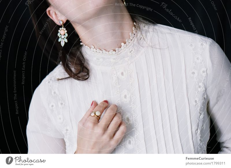 tender_1799311 Elegant Style Beautiful Feminine Young woman Youth (Young adults) Woman Adults 18 - 30 years Blouse Wedding dress Lace Romance Embroidery Ring