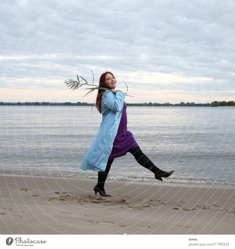 . Feminine 1 Human being Actor Dance Landscape Plant Coast River bank Beach Dress Coat Red-haired Long-haired Observe Going Laughter Looking Beautiful Happiness
