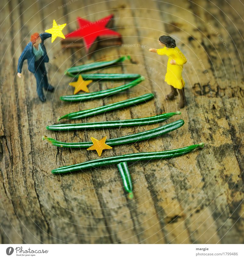Human being Woman Man Christmas & Advent Green Red Adults To talk Feminine Feasts & Celebrations Masculine Star (Symbol) Tradition Advice Christmas tree