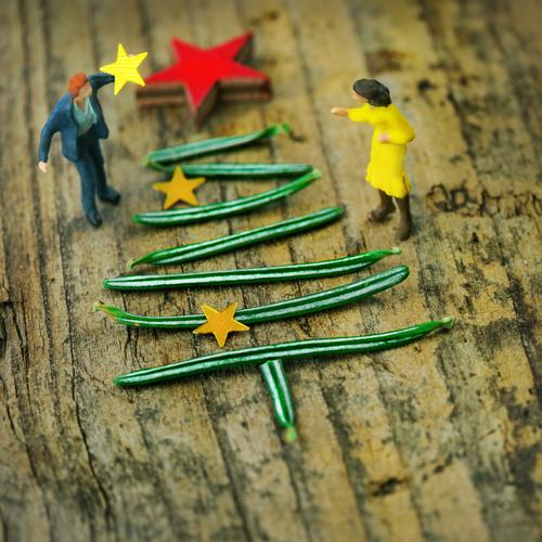 Miniwelten - Christmas Tree Decorating Feasts & Celebrations Christmas & Advent Human being Masculine Feminine Woman Adults Man 2 Green Red Christmas tree