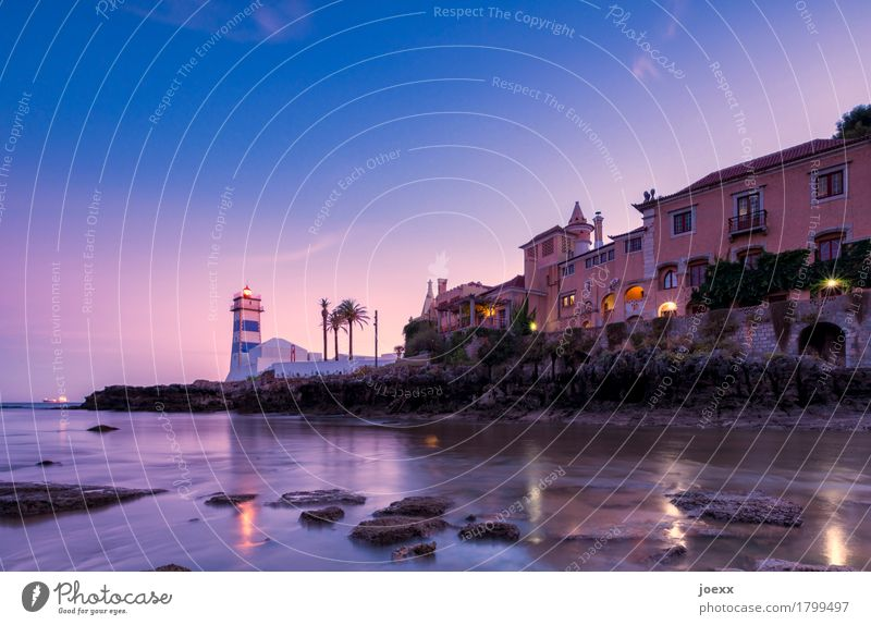 Santa Marta Water Summer Beautiful weather Rock Coast Bay Cascais House (Residential Structure) Lighthouse Architecture Wall (barrier) Wall (building) Old