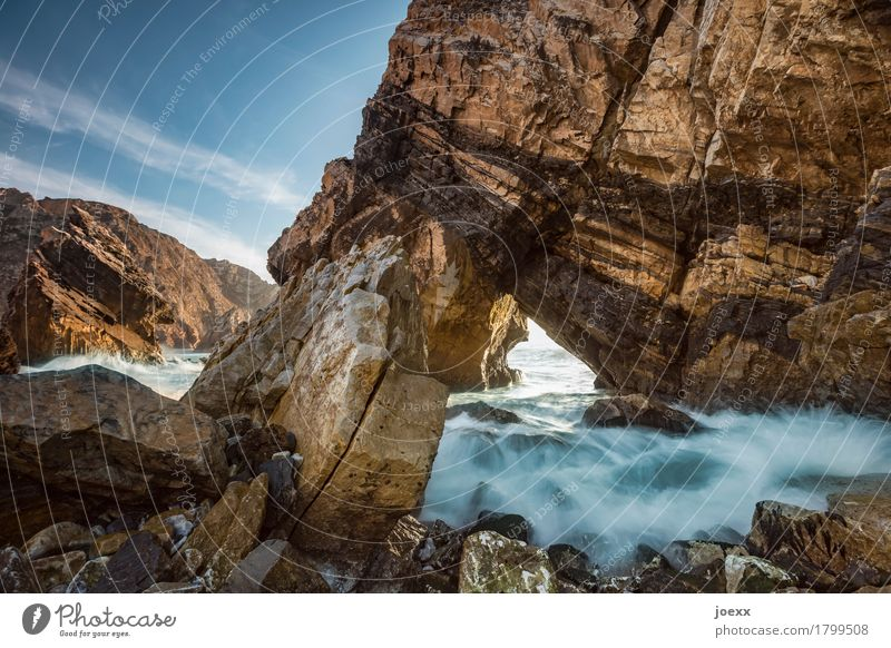 The inner light Landscape Water Beautiful weather Rock Waves Coast Large Tall Blue Brown Ursa Colour photo Exterior shot Deserted Day Light Shadow