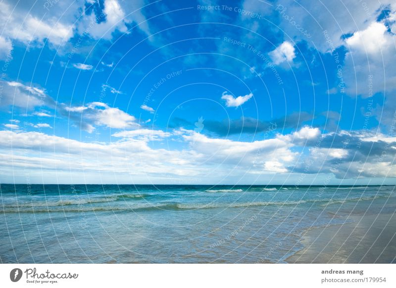 deep blue Colour photo Exterior shot Deserted Copy Space top Day Wide angle Vacation & Travel Summer Beach Ocean Waves Nature Water Sky Clouds Horizon
