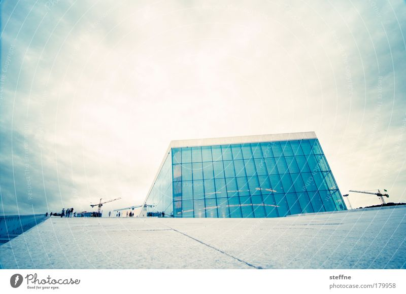Blue City Yellow Building Art Modern Esthetic Culture Exceptional Landmark Norway Capital city Opera Futurism Tourist Attraction
