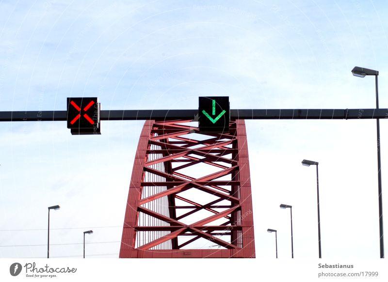 Bridge of Solidarity Road sign Lantern Duisburg Rhine River Arrow green cross red