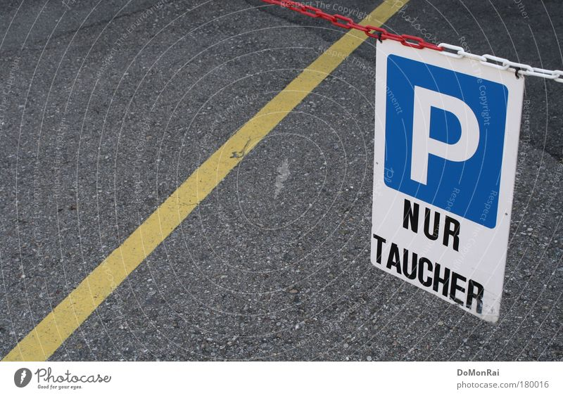/P Dive Parking lot Characters Signs and labeling Signage Warning sign Road sign Hang Blue Yellow Gray White Claustrophobia Mistrust Caution Chain Clue