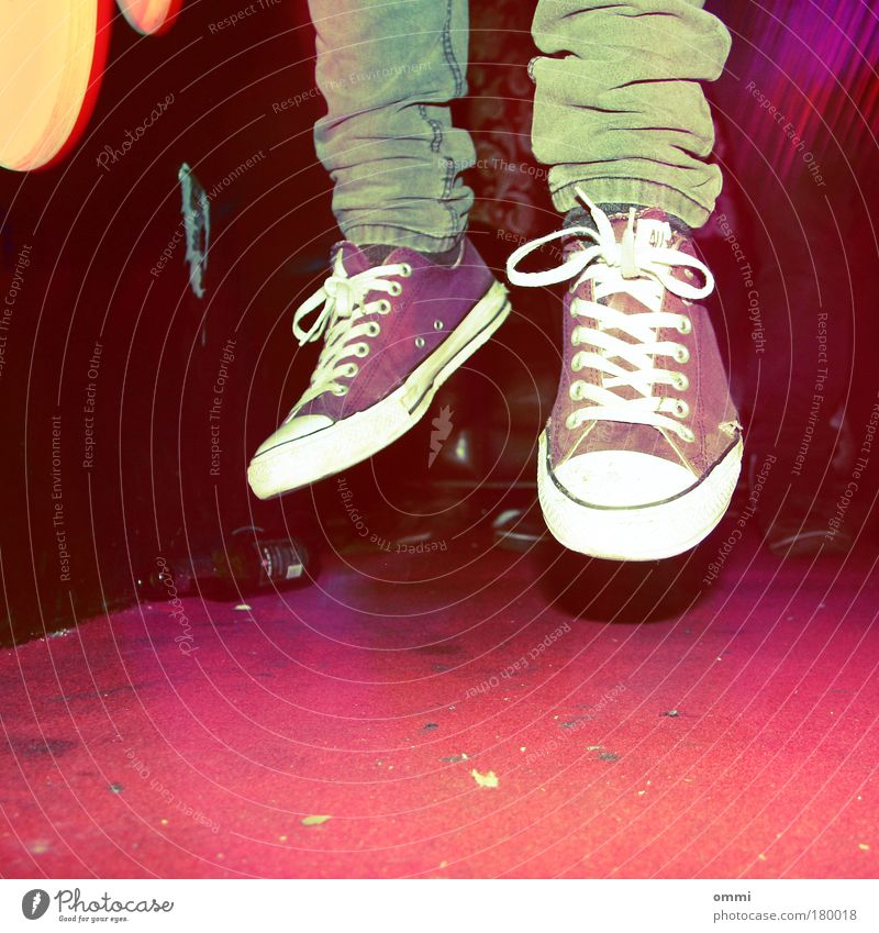 Youth (Young adults) Red Abstract Joy Sneakers Life Jump Party Lomography Human being Feet Footwear Dance Multicoloured Flying