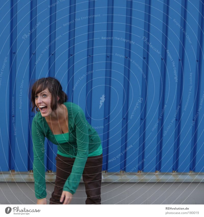 I laugh my ass off. Colour photo Exterior shot Pattern Structures and shapes Copy Space right Copy Space top Day Long shot Portrait photograph Upper body