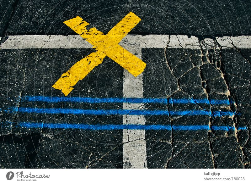 Yellow Movement Signs and labeling Transport Planning Stripe Asphalt Crucifix Traffic infrastructure Stress Crack & Rip & Tear Sporting event Road traffic