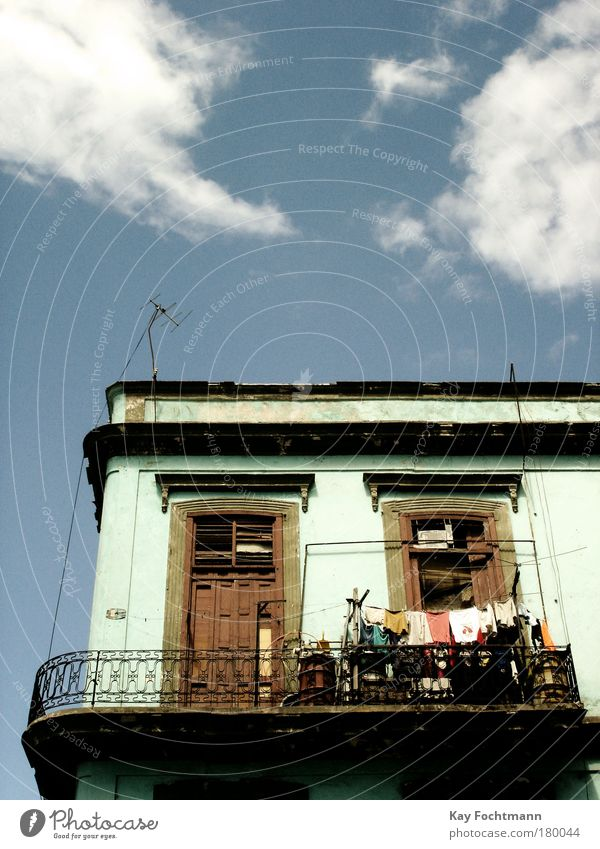 cuba Summer House (Residential Structure) Clouds Facade Balcony Window Antenna Old Blue Colour photo Multicoloured Exterior shot Deserted Copy Space top Day