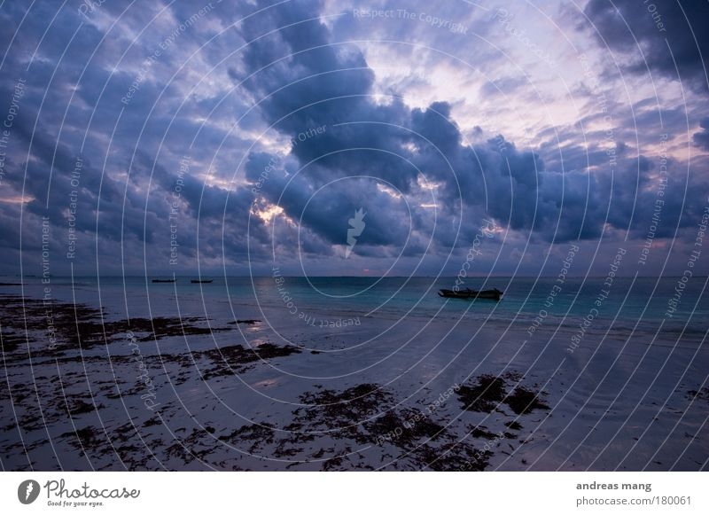clouds drama Exterior shot Deserted Morning Dawn Contrast Reflection Deep depth of field Wide angle Beach Ocean Nature Water Sky Clouds Horizon Weather