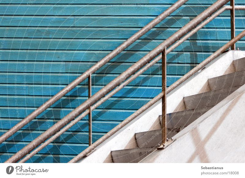 Ascent - The 100th Upload ;) Steel Wood Turquoise Netherlands Go up Architecture Stairs Handrail Stone Milways