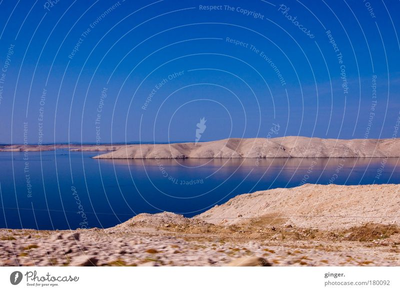 Island Pag - Croatia Harmonious Summer Landscape Water Sky Horizon Beautiful weather Esthetic Blue Sparse Beige Ocean Stony Two-tone Cloudless sky Blue sky