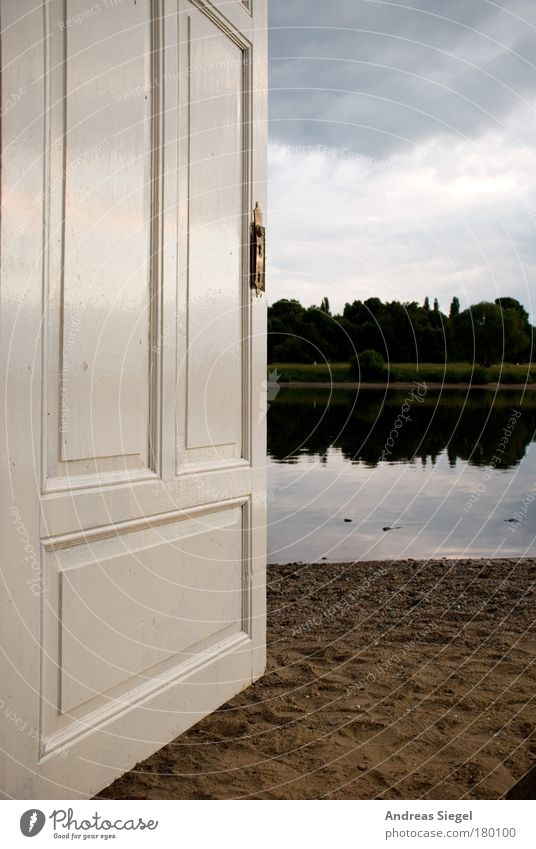 The door to the river Colour photo Subdued colour Exterior shot Deserted Evening Reflection Trip Discover Living or residing Flat (apartment) Garden Nature