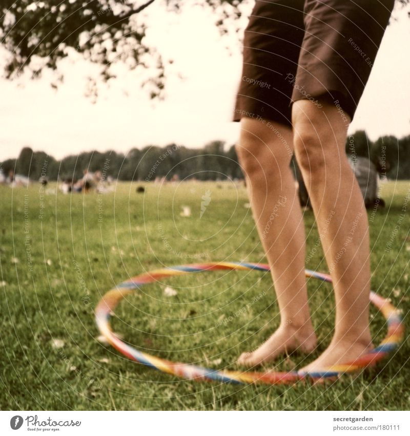hula show with the ankle! Colour photo Exterior shot Close-up Lomography Copy Space left Evening Twilight Shallow depth of field Worm's-eye view Front view Joy