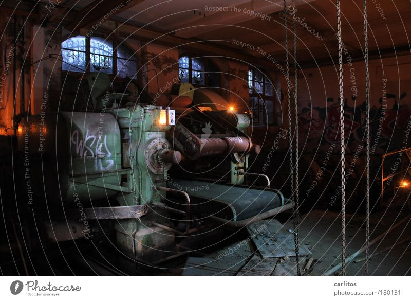 Green Loneliness Dark Fear Lighting Industry Dangerous Transience Derelict Decline Machinery Chain Ruin Surrealism Eerie Arch
