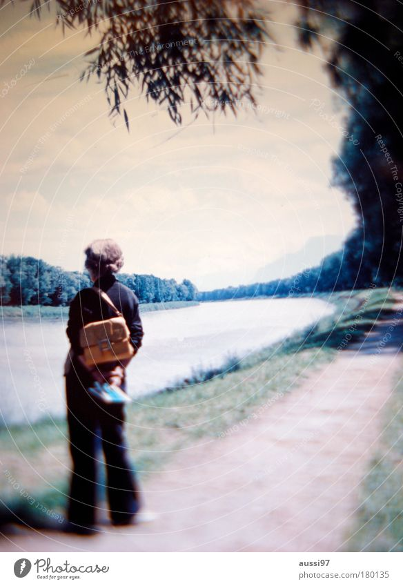 Hiking River Blur Observe Lady Discover River bank Dreamily Sightseeing Backpack Inspection Riverbed