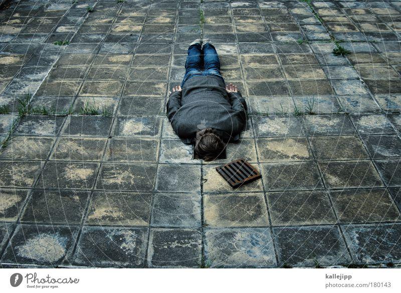 Man Adults Lie Fear Masculine Dangerous Gloomy Jeans Fear of death Suit Stress Claustrophobia Trashy Fear of the future Distress Symmetry