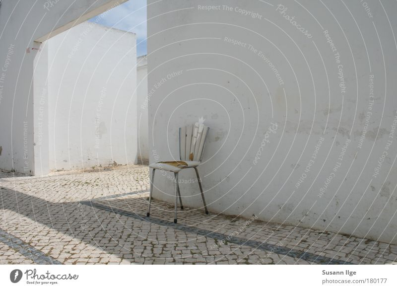 White Calm Loneliness House (Residential Structure) Wall (building) Architecture Lanes & trails Stone Wall (barrier) Metal Facade Concrete Europe Transience Manmade structures Plastic