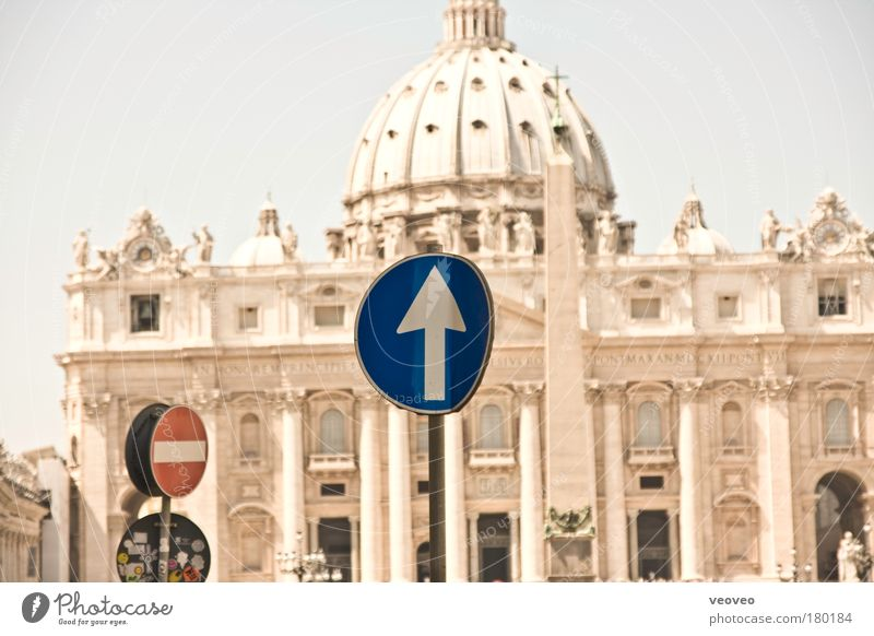 St. Peter Rome Italy Europe Capital city Dome Road sign Tourist Attraction St. Peter's Cathedral Vatican Christianity Evangelical crusade Authentic Modern