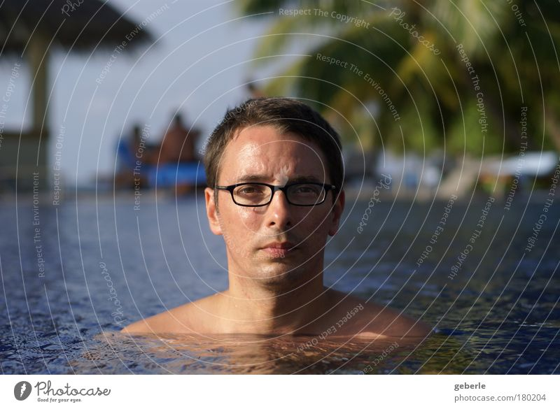 me in the pool - again Colour photo Exterior shot Copy Space left Copy Space right Evening Light Shadow Sunrise Sunset Shallow depth of field