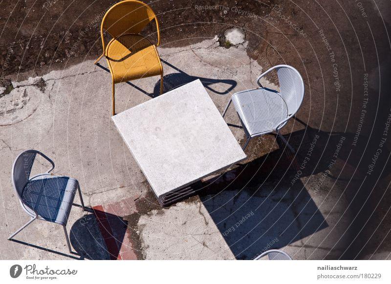 forsake sb./sth. Design Tourism Trip Gastronomy Terrace Concrete Metal Plastic Loneliness Boredom Services Stagnating Café Chair Colour photo Subdued colour