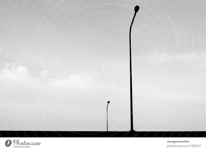 be lonely Black & white photo Exterior shot Deserted Copy Space left Technology White Lantern Minimalistic Line Parallel Sky Individual Clouds solo Above Under