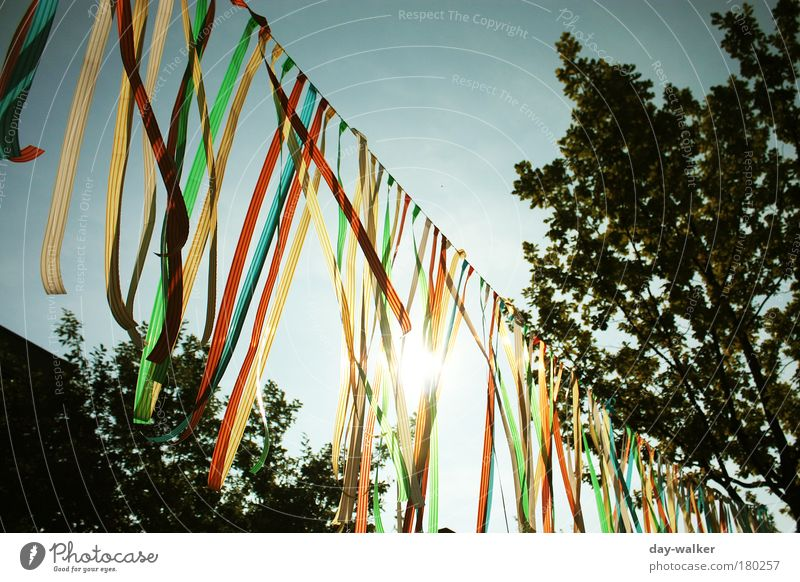 Sky White Tree Sun Green Blue Red Summer Clouds Yellow Wind Rope Stripe