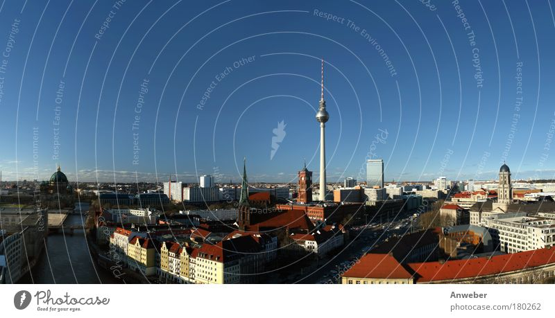 Panorama Berlin-Mitte with television tower at Alexanderplatz Exterior shot Aerial photograph Copy Space top Evening Contrast Silhouette Sunlight