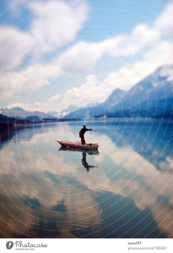 Loneliness Watercraft Teeth Reflection Fishing (Angle) Pond Human being Fishery Fishing rod Liquid Spoon bait Bait Good luck fishing!