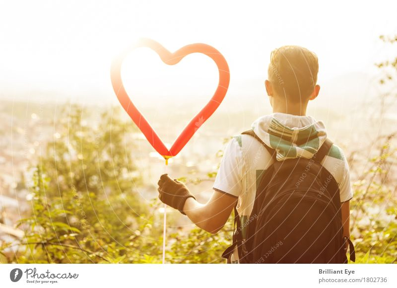 A heart for it Lifestyle Leisure and hobbies Summer Sun Valentine's Day Child Human being Masculine 13 - 18 years Youth (Young adults) Nature Sunrise Sunset