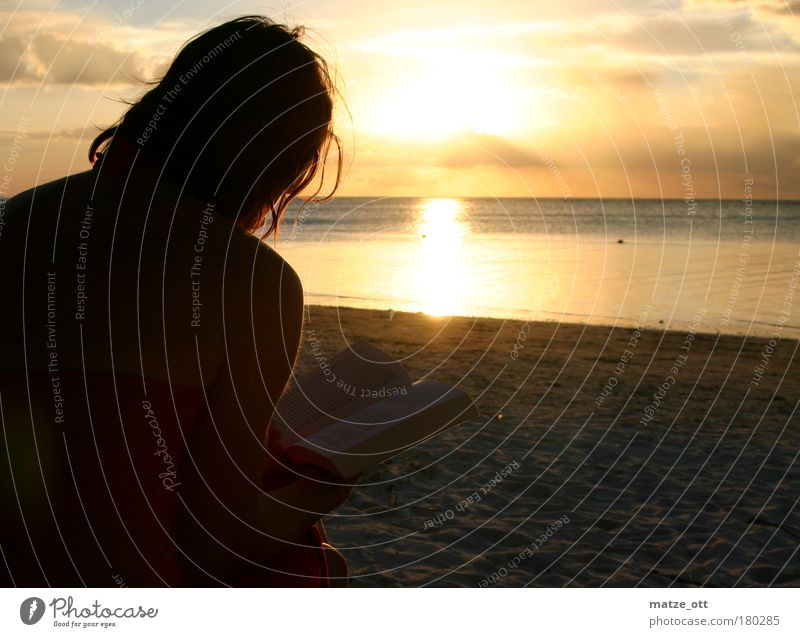 Human being Woman Vacation & Travel Sun Summer Ocean Calm Adults Relaxation Landscape Warmth Coast Horizon Contentment Sit Romance