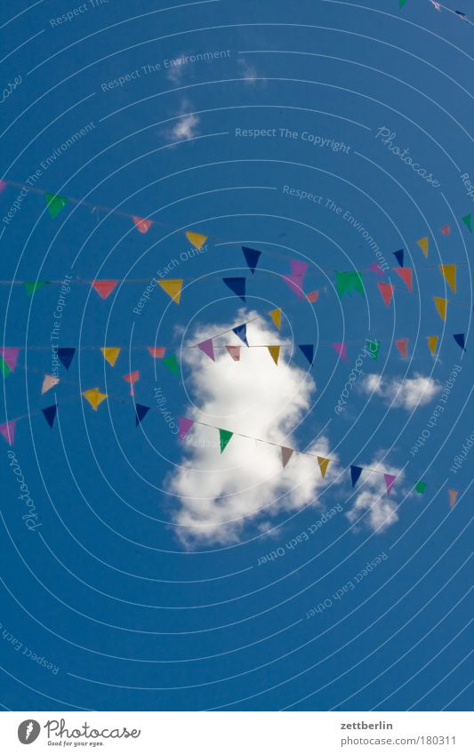 Sky Summer Clouds Colour Party Dye Feasts & Celebrations Birthday Rope Flag Decoration String Jewellery Invitation Copy Space Symbols and metaphors