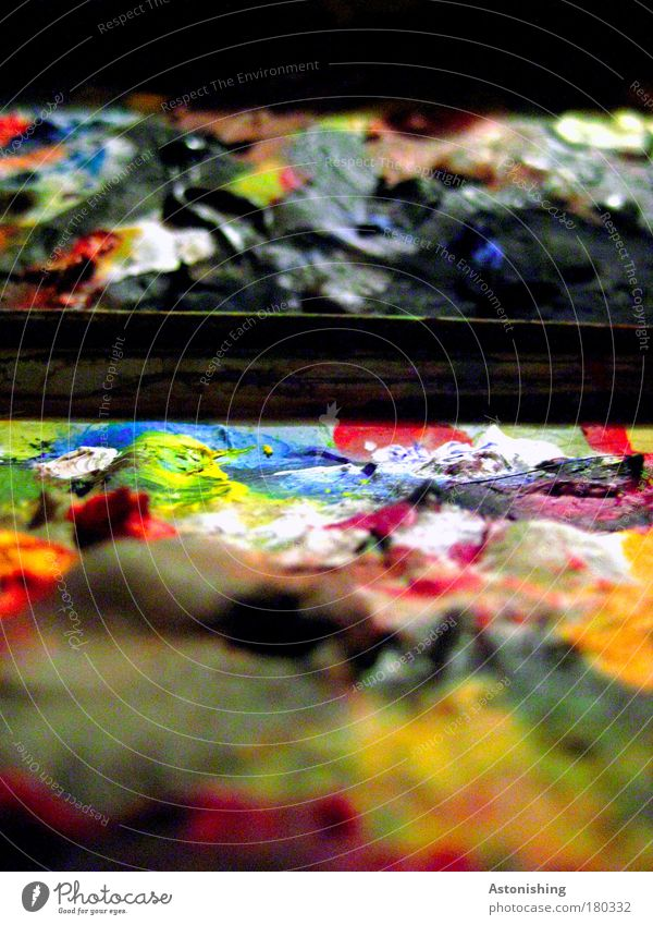 layers of paint Colour photo Multicoloured Interior shot Macro (Extreme close-up) Abstract Pattern Structures and shapes Artificial light Blur Artist Painter