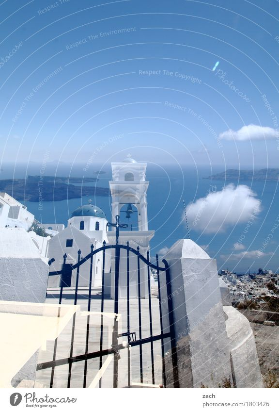 Reality is only a dream Nature Sky Clouds Beautiful weather Coast Ocean Mediterranean sea Aegean Sea Island Cyclades Santorini Caldera Oia Thira Greece Village