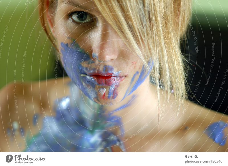 Woman Blue Face Colour Naked Emotions Hair and hairstyles Shoulder Portrait photograph Painted Multicoloured Art Bodypainting Human being