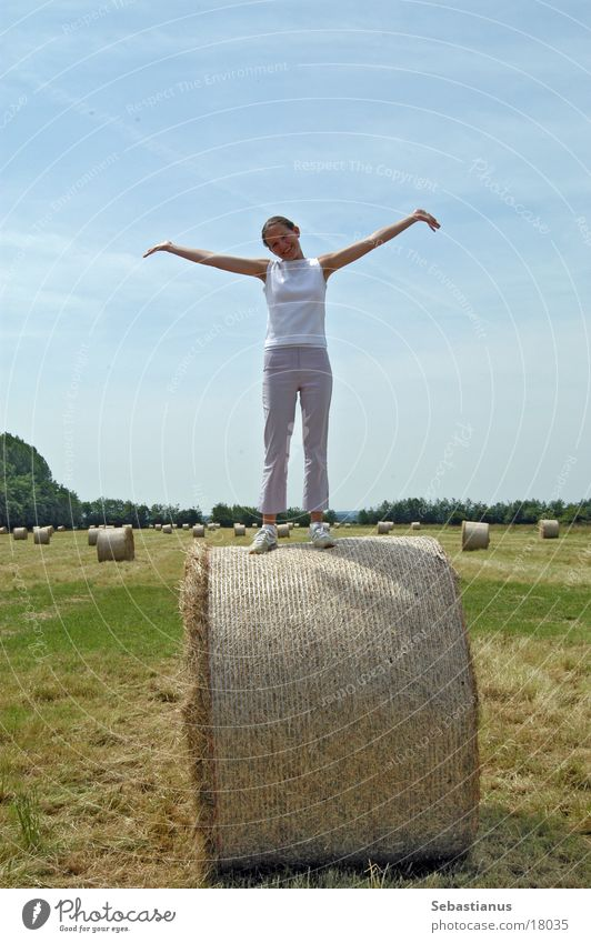 A little cuddle on the straw bale Field Meadow Bale of straw Woman Harvest Arm Young woman Full-length Isolated Image Bright background Summer Summery
