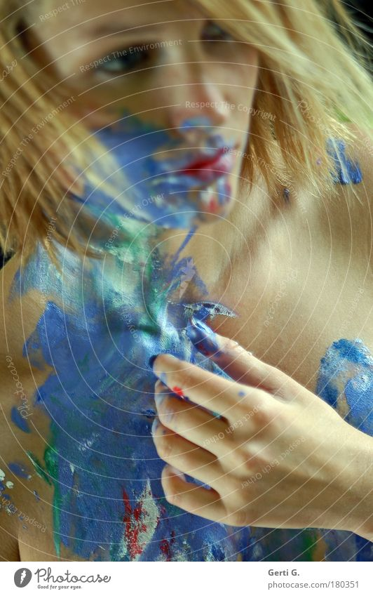 Woman Hand Beautiful Face Emotions Think Skin Blonde Fingers Meditative Painted Art Bodypainting Distributed
