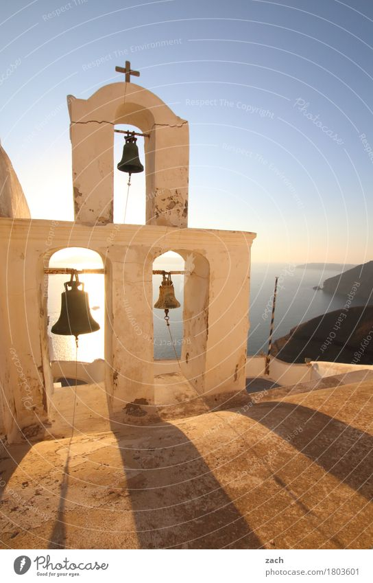 Blue White Ocean Clouds Religion and faith Rock Church Island Beautiful weather Tower Belief Village Old town Christian cross Crucifix Mediterranean sea