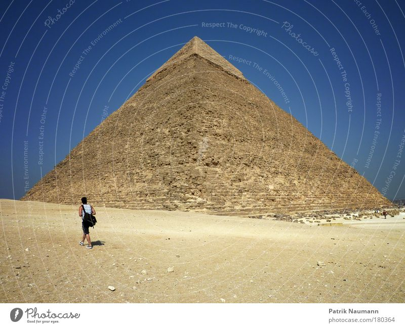 tourist wonder Colour photo Exterior shot Copy Space bottom Wide angle Masculine 1 Human being Landscape Sand Sky Cloudless sky Sun Summer Beautiful weather