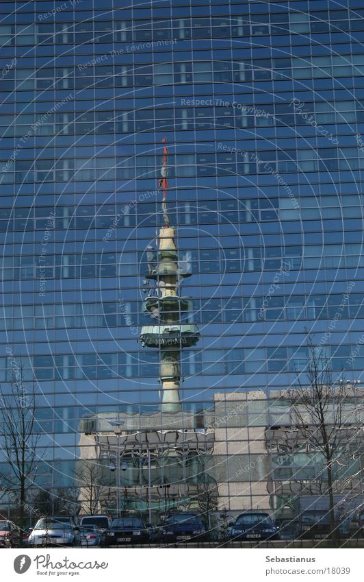 Radio tower in the Citibank Transmitting station Reflection Facade Duisburg Industry Glass Window pane Tower citibank Bench Radio (broadcasting)